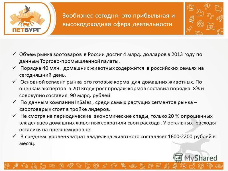 Зообизнес сегодня- это прибыльная и высокодоходная сфера деятельности Объем рынка зоотоваров в России достиг 4 млрд. долларов в 2013 году по данным Торгово-промышленной палаты. Порядка 40 млн. домашних животных содержится в российских семьях на сегод