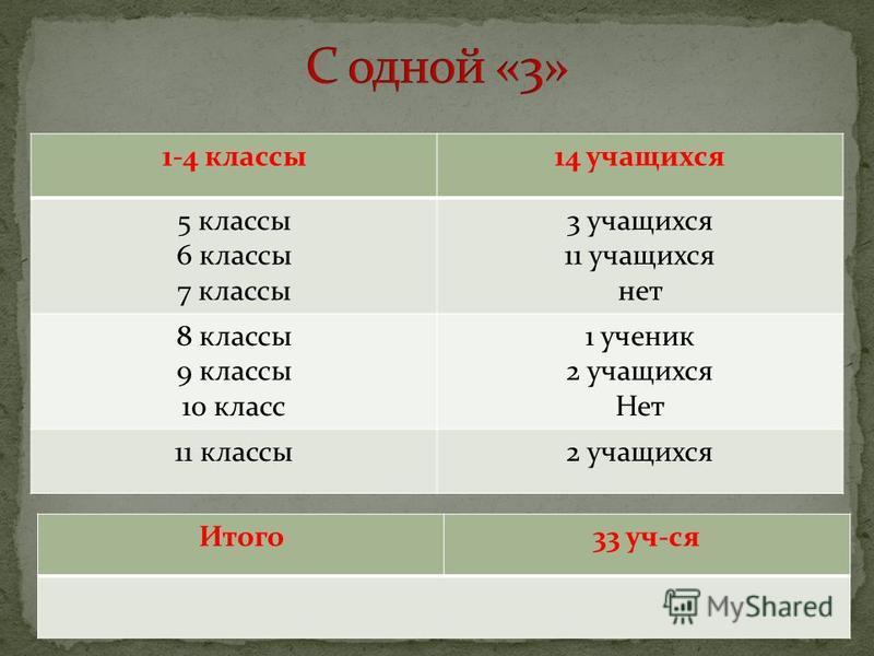 1-4 классы 14 учащихся 5 классы 6 классы 7 классы 3 учащихся 11 учащихся нет 8 классы 9 классы 10 класс 1 ученик 2 учащихся Нет 11 классы 2 учащихся Итого 33 уч-ся