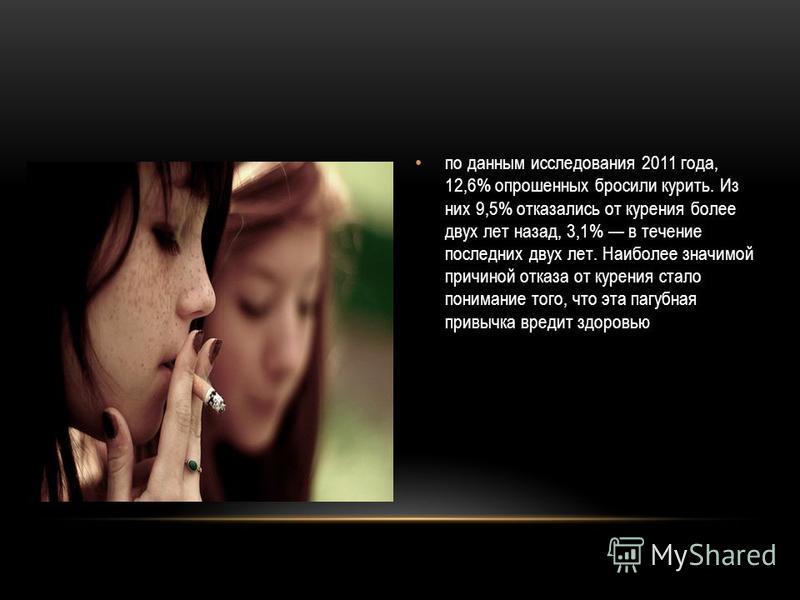 по данным исследования 2011 года, 12,6% опрошенных бросили курить. Из них 9,5% отказались от курения более двух лет назад, 3,1% в течение последних двух лет. Наиболее значимой причиной отказа от курения стало понимание того, что эта пагубная привычка