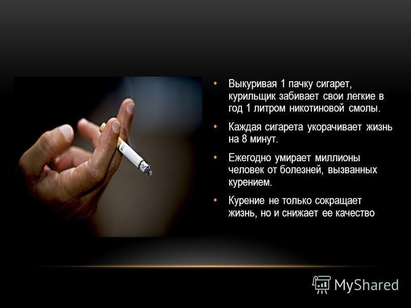 Выкуривая 1 пачку сигарет, курильщик забивает свои легкие в год 1 литром никотиновой смолы. Каждая сигарета укорачивает жизнь на 8 минут. Ежегодно умирает миллионы человек от болезней, вызванных курением. Курение не только сокращает жизнь, но и снижа