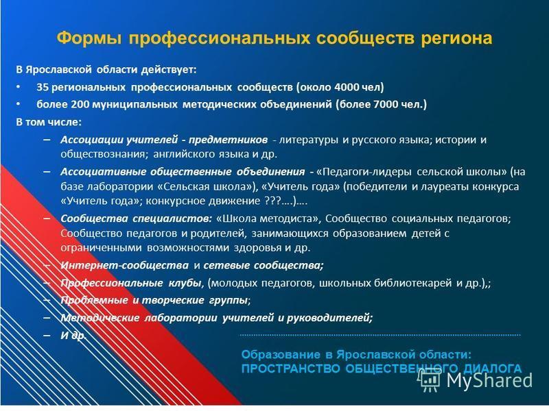 Формы профессиональных сообществ региона В Ярославской области действует: 35 региональных профессиональных сообществ (около 4000 чел) более 200 муниципальных методических объединений (более 7000 чел.) В том числе: – Ассоциации учителей - предметников