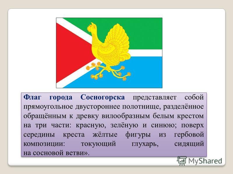 Флаг города Сосногорска представляет собой прямоугольное двустороннее полотнище, разделённое обращённым к древку вилообразным белым крестом на три части: красную, зелёную и синюю; поверх середины креста жёлтые фигуры из гербовой композиции: токующий