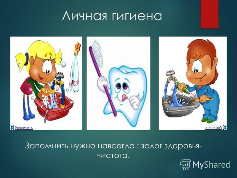 Личная гигиена Запомнить нужно навсегда : залог здоровья- чистота.