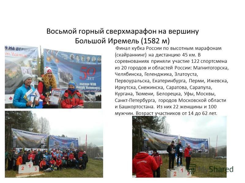Восьмой горный сверхмарафон на вершину Большой Иремель (1582 м) Финал кубка России по высотным марафонам (скайраннинг) на дистанцию 45 км. В соревнованиях приняли участие 122 спортсмена из 20 городов и областей России: Магнитогорска, Челябинска, Геле