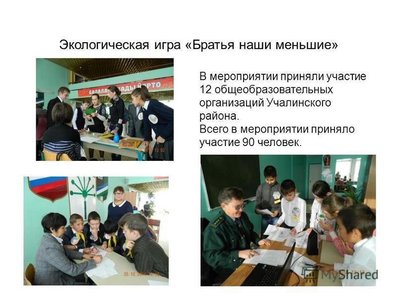 Экологическая игра «Братья наши меньшие» В мероприятии приняли участие 12 общеобразовательных организаций Учалинского района. Всего в мероприятии приняло участие 90 человек.