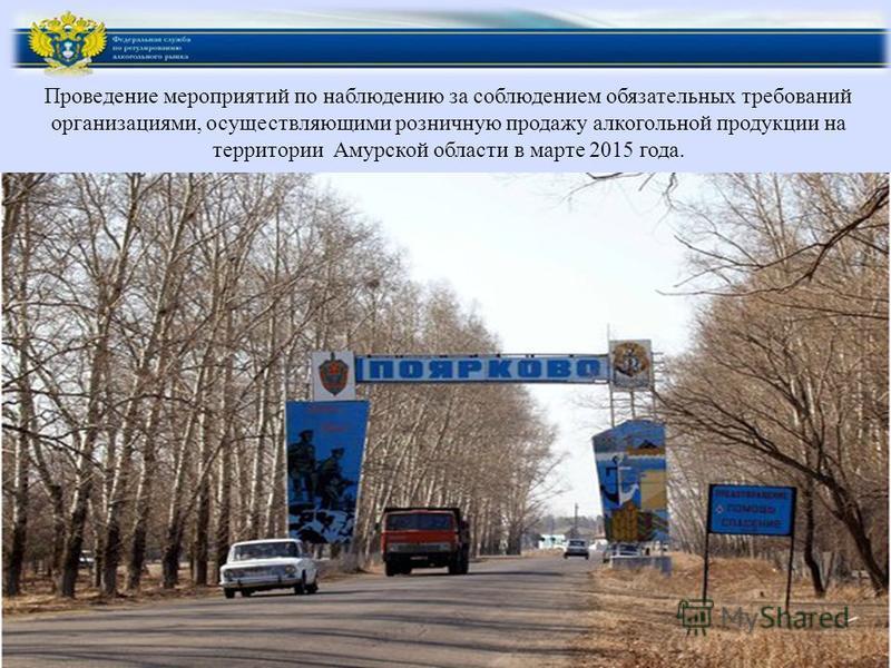 Проведение мероприятий по наблюдению за соблюдением обязательных требований организациями, осуществляющими розничную продажу алкогольной продукции на территории Амурской области в марте 2015 года.