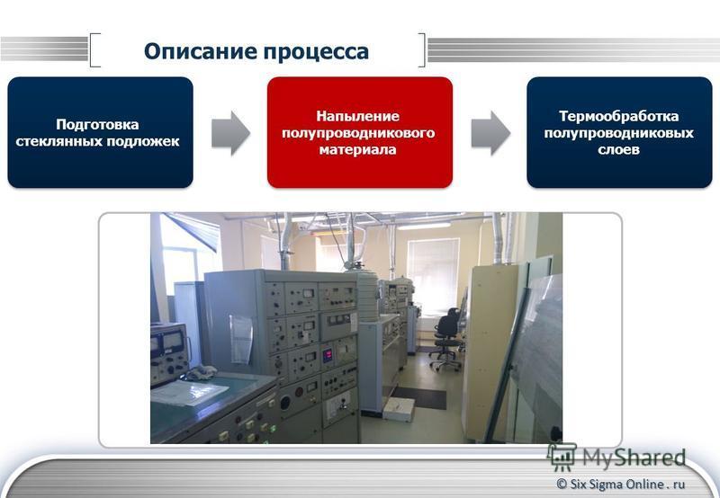 © Six Sigma Online. ru Описание процесса Подготовка стеклянных подложек Термообработка полупроводниковых слоев Напыление полупроводникового материала