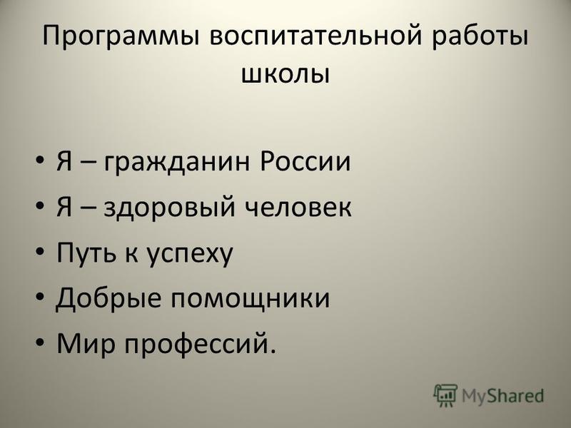 Программы воспитательной работы школы Я – гражданин России Я – здоровый человек Путь к успеху Добрые помощники Мир профессий.