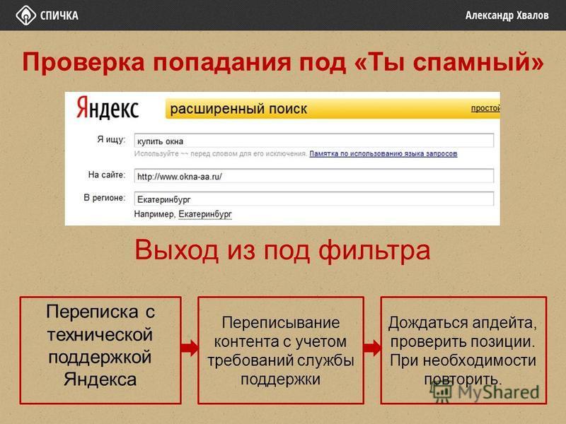Выход из под фильтра Переписка с технической поддержкой Яндекса Переписывание контента с учетом требований службы поддержки Дождаться апдейта, проверить позиции. При необходимости повторить. Проверка попадания под «Ты спамный»