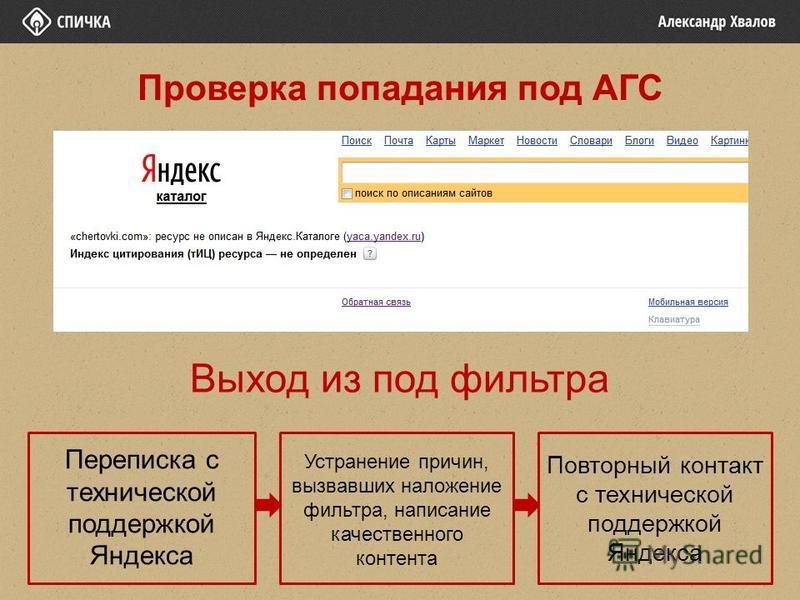 Выход из под фильтра Переписка с технической поддержкой Яндекса Устранение причин, вызвавших наложение фильтра, написание качественного контента Повторный контакт с технической поддержкой Яндекса Проверка попадания под АГС