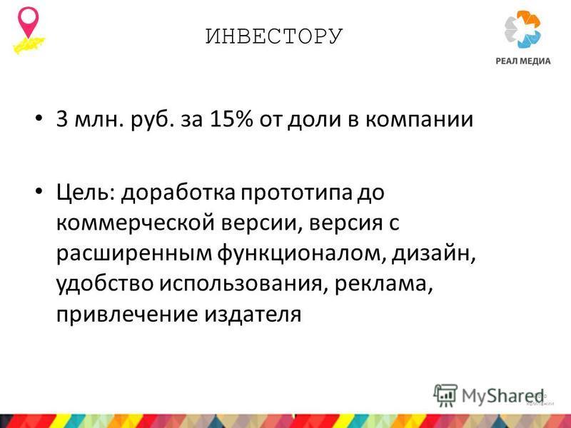 Лого компании ИНВЕСТОРУ 3 млн. руб. за 15% от доли в компании Цель: доработка прототипа до коммерческой версии, версия с расширенным функционалом, дизайн, удобство использования, реклама, привлечение издателя