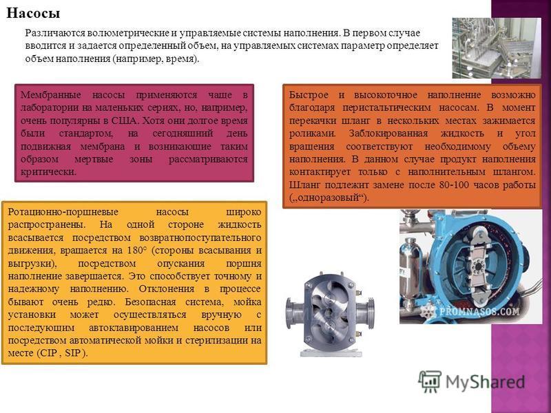 Насосы Различаются волюметрические и управляемые системы наполнения. В первом случае вводится и задается определенный объем, на управляемых системах параметр определяет объем наполнения (например, время). Мембранные насосы применяются чаще в лаборато