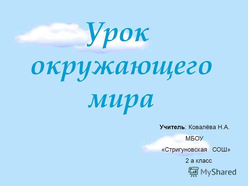 Урок окружающего мира Учитель: Ковалёва Н.А. МБОУ «Стригуновская СОШ» 2 а класс