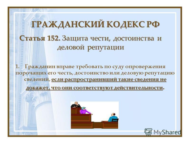 Статья 152. Защита чести, достоинства и деловой репутации если распространивший такие сведения не докажет, что они соответствуют действительности 1. Гражданин вправе требовать по суду опровержения порочащих его честь, достоинство или деловую репутаци