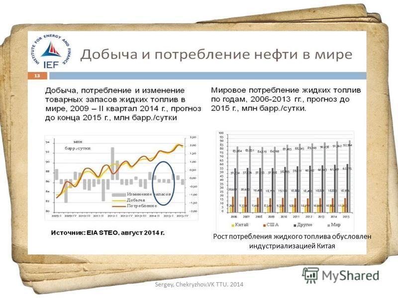 Рост потребления жидкого топлива обусловлен индустриализацией Китая Sergey, Chekryzhov.VK TTU. 2014