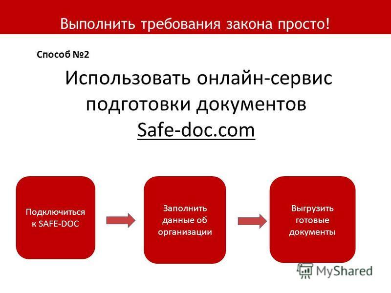 Выполнить требования закона просто! Подключиться к SAFE-DOC Заполнить данные об организации Выгрузить готовые документы Использовать онлайн-сервис подготовки документов Safe-doc.com Способ 2
