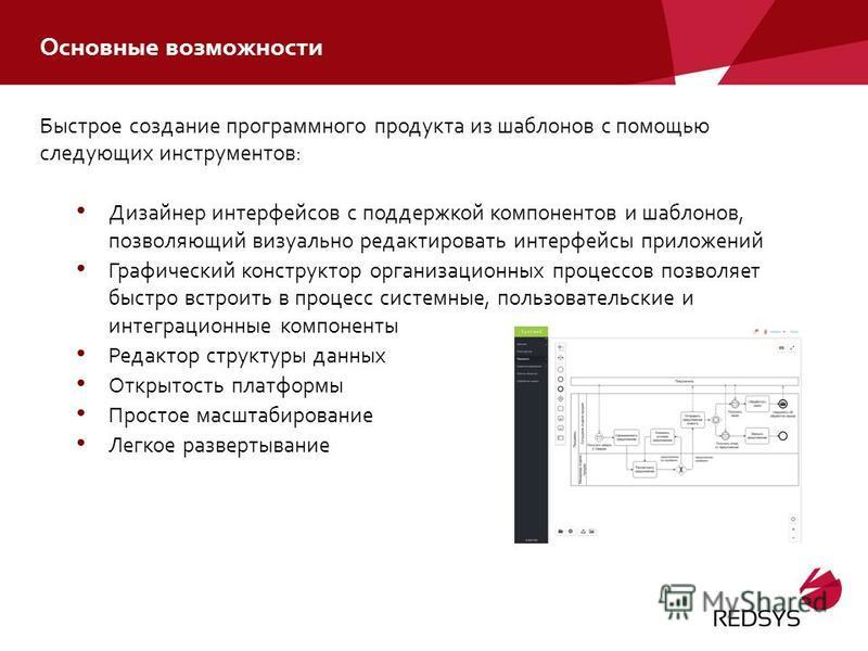 Основные возможности Быстрое создание программного продукта из шаблонов с помощью следующих инструментов: Дизайнер интерфейсов с поддержкой компонентов и шаблонов, позволяющий визуально редактировать интерфейсы приложений Графический конструктор орга