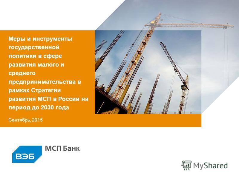 Сентябрь, 2015 Меры и инструменты государственной политики в сфере развития малого и среднего предпринимательства в рамках Стратегии развития МСП в России на период до 2030 года