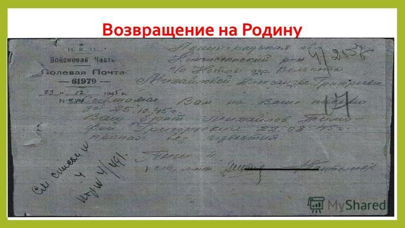 Возвращение на Родину Михайлов Тимофей Григорьевич возвращался домой через Западную Украину. Сестре Тимофея пришла телеграмма из села Верхнее- Синевидное Львовской области: