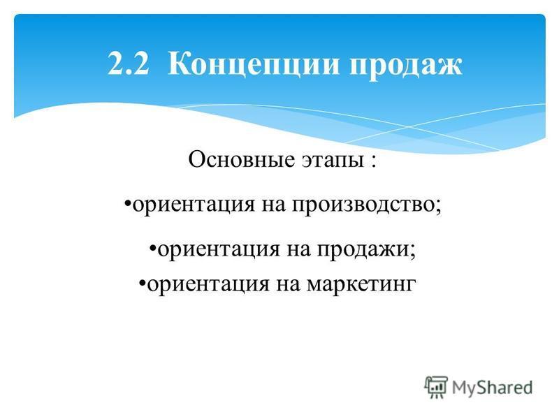 2.2 Концепции продаж Основные этапы : ориентация на производство; ориентация на продажи; ориентация на маркетинг