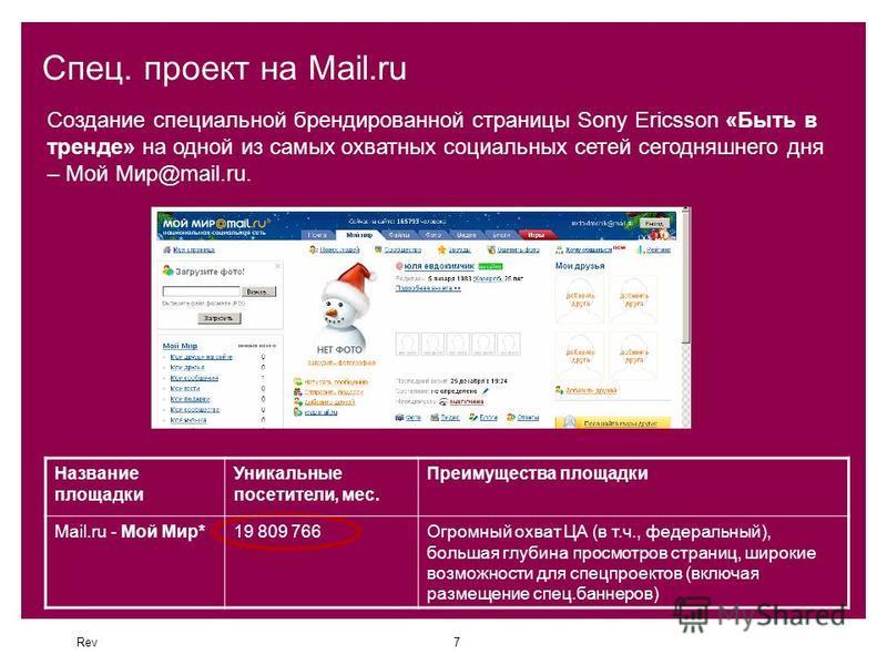 Rev7 Спец. проект на Mail.ru Создание специальной брендированной страницы Sony Ericsson «Быть в тренде» на одной из самых охватных социальных сетей сегодняшнего дня – Мой Мир@mail.ru. Название площадки Уникальные посетители, мес. Преимущества площадк
