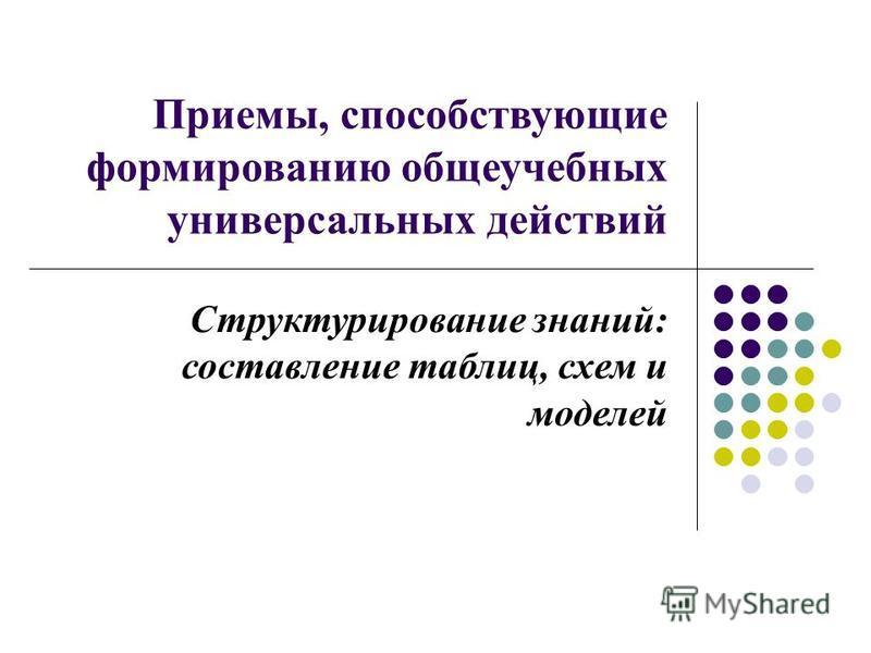 Приемы, способствующие формированию общеучебных универсальных действий Структурирование знаний: составление таблиц, схем и моделей