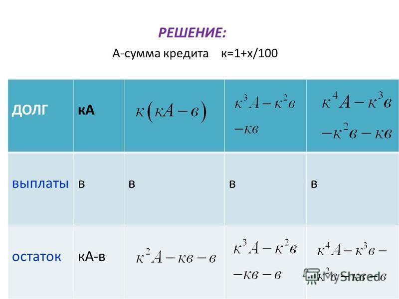 РЕШЕНИЕ: А-сумма кредита к=1+х/100 ДОЛГкА выплатывввв остатоккА-в