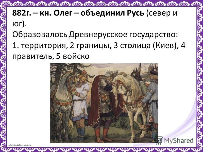 882 г. – кн. Олег – объединил Русь (север и юг). Образовалось Древнерусское государство: 1. территория, 2 границы, 3 столица (Киев), 4 правитель, 5 войско