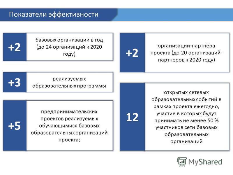 базовых организации в год (до 24 организаций к 2020 году) +2 Показатели эффективности реализуемых образовательных программы +3 предпринимательских проектов реализуемых обучающимися базовых образовательных организаций проекта; +5 организации-партнёра