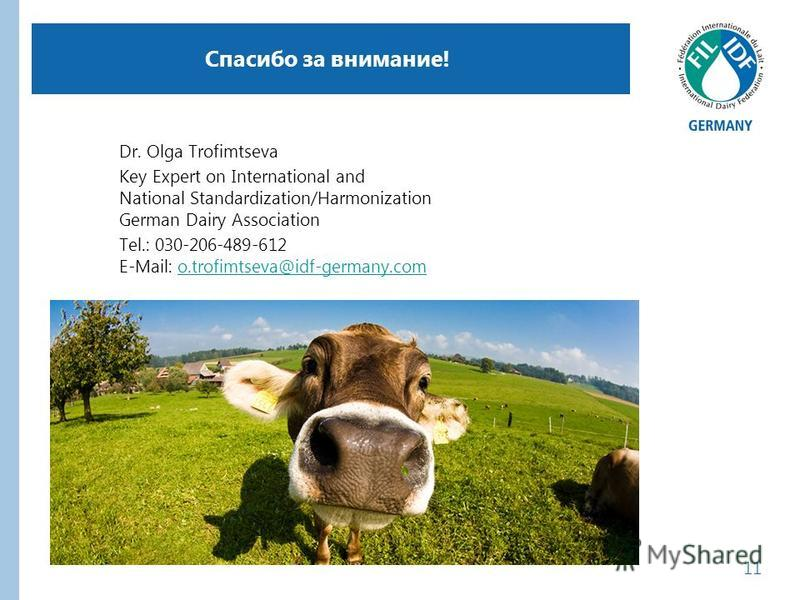 Спасибо за внимание! Dr. Olga Trofimtseva Key Expert on International and National Standardization/Harmonization German Dairy Association Tel.: 030-206-489-612 E-Mail: o.trofimtseva@idf-germany.como.trofimtseva@idf-germany.com 11