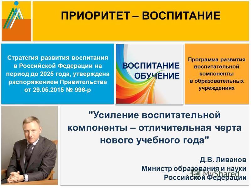 Стратегия развития воспитания в Российской Федерации на период до 2025 года, утверждена распоряжением Правительства от 29.05.2015 996-р Стратегия развития воспитания в Российской Федерации на период до 2025 года, утверждена распоряжением Правительств