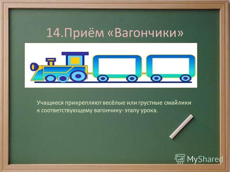 14.Приём «Вагончики» Учащиеся прикрепляют весёлые или грустные смайлики к соответствующему вагончику- этапу урока.