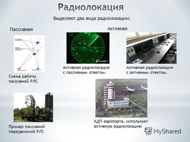 Выделяют два вида радиолокации: Активная Пассивная Активная радиолокация с пассивным ответом. Схема работы пассивной РЛС Пример пассивной передвижной РЛС Активная радиолокация с активным ответом. КДП аэропорта, использует активную радиолокацию
