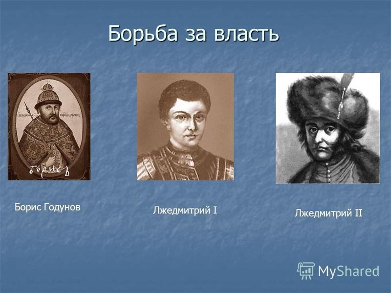 Борьба за власть Борис Годунов Лжедмитрий I Лжедмитрий II