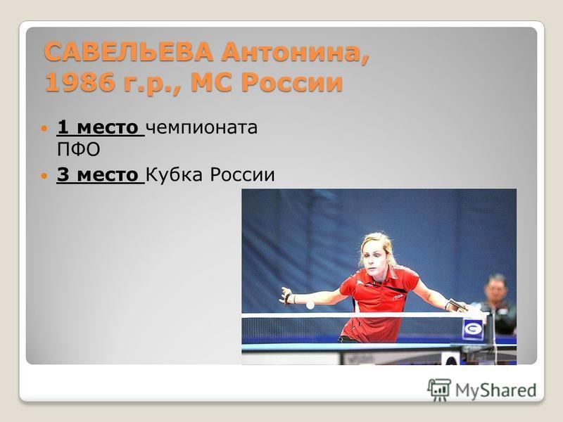 САВЕЛЬЕВА Антонина, 1986 г.р., МС России 1 место чемпионата ПФО 3 место Кубка России