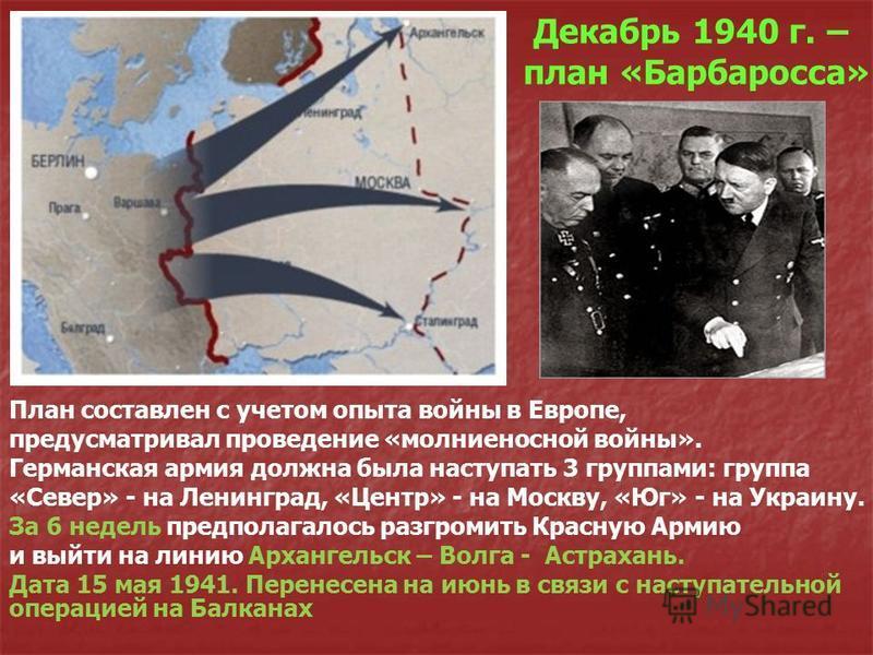 Декабрь 1940 г. – план «Барбаросса» План составлен с учетом опыта войны в Европе, предусматривал проведение «молниеносной войны». Германская армия должна была наступать 3 группами: группа «Север» - на Ленинград, «Центр» - на Москву, «Юг» - на Украину