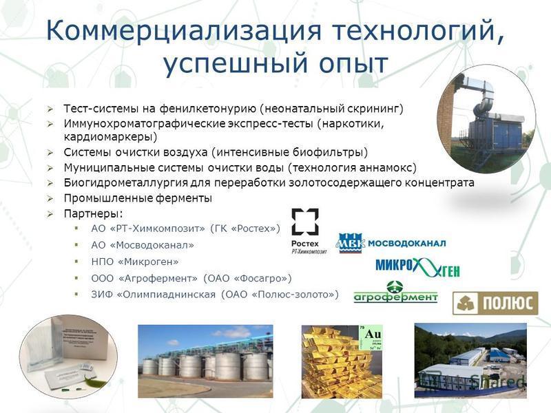 Коммерциализация технологий, успешный опыт Тест-системы на фенилкетонурию (неонатальный скрининг) Иммунохроматографические экспресс-тесты (наркотики, кардиомаркеры) Системы очистки воздуха (интенсивные биофильтры) Муниципальные системы очистки воды (