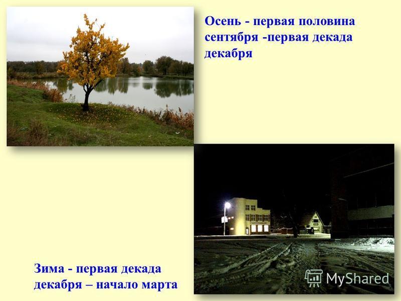 Весна – начало марта – первая половина мая Лето – вторая половина мая – первая половина сентября