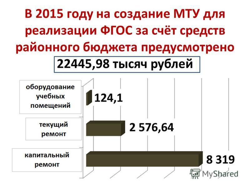 В 2015 году на создание МТУ для реализации ФГОС за счёт средств районного бюджета предусмотрено 22445,98 тысяч рублей