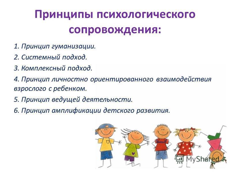 Принципы психологического сопровождения: 1. Принцип гуманизации. 2. Системный подход. 3. Комплексный подход. 4. Принцип личностно ориентированного взаимодействия взрослого с ребенком. 5. Принцип ведущей деятельности. 6. Принцип амплификации детского