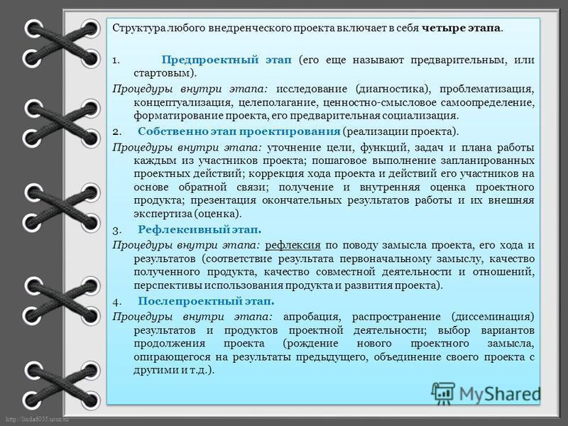 http://linda6035.ucoz.ru/ Структура любого внедренческого проекта включает в себя четыре этапа. 1. Предпроектный этап (его еще называют предварительным, или стартовым). Процедуры внутри этапа: исследование (диагностика), проблематизация, концептуализ