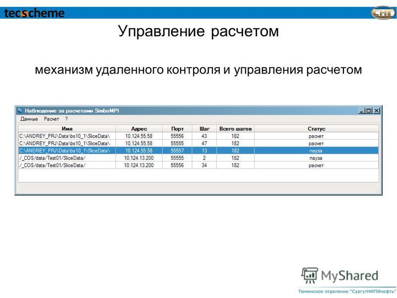 Управление расчетом механизм удаленного контроля и управления расчетом