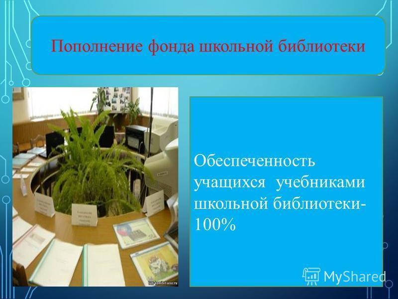 ДЖЛД Пополнение фонда школьной библиотеки Обеспеченность учащихся учебниками школьной библиотеки- 100%