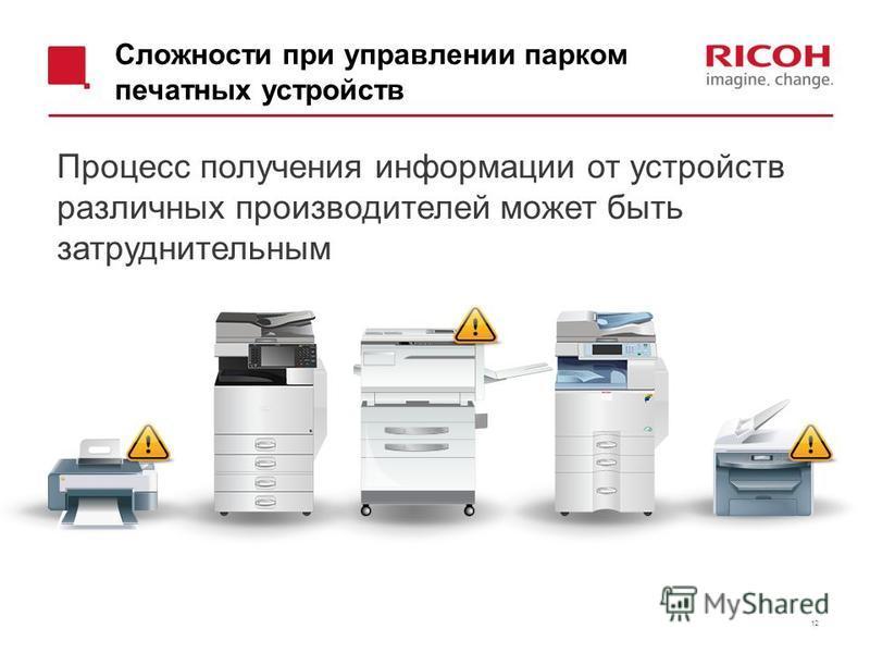 Сложности при управлении парком печатных устройств 12 Процесс получения информации от устройств различных производителей может быть затруднительным