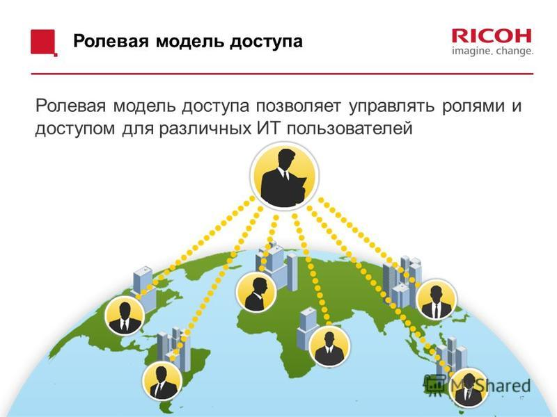 Ролевая модель доступа Ролевая модель доступа позволяет управлять ролями и доступом для различных ИТ пользователей 17