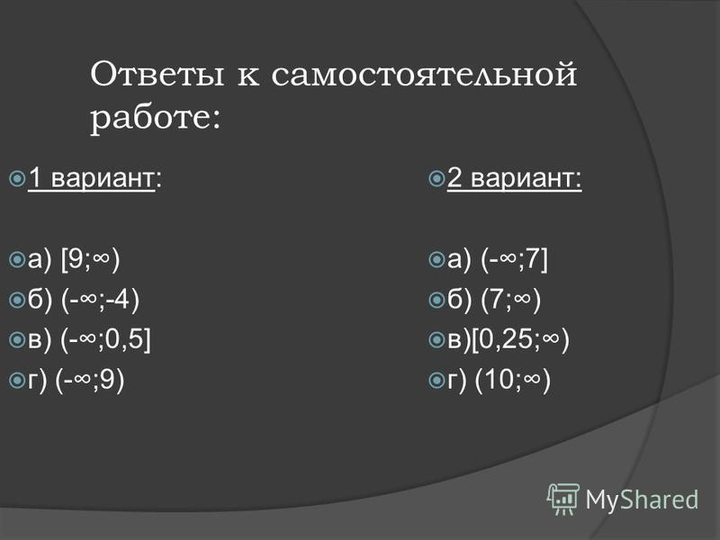 Самостоятельная работа: 1 вариант: а) 2 х 18 б) -4 х>16 в) 17 х-212 х-1 г) 3(3 х-1)>2(5 х-7) 2 вариант: а) 3 х 21 б) -5 х<35 в) 3-9 х 1-х г) 5(х+4)<2(4 х-5)