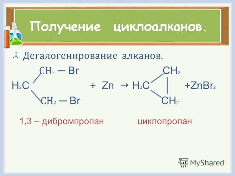 Получение циклоалканов. Дегалогенирование алканов. СН 2 Br CH 2 H 2 C + Zn H 2 C +ZnBr 2 СН 2 Br CH 2 1,3 – дибромпропан циклопропан