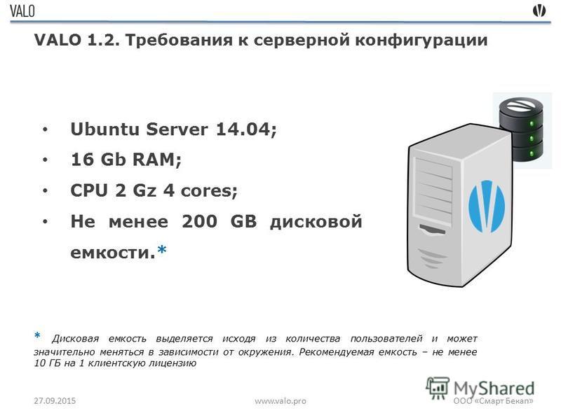 27.09.2015www.valo.pro VALO 1.2. Требования к серверной конфигурации Ubuntu Server 14.04; 16 Gb RAM; CPU 2 Gz 4 cores; Не менее 200 GB дисковой емкости.* * Дисковая емкость выделяется исходя из количества пользователей и может значительно меняться в