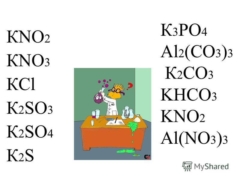 К 3 PO 4 Al 2 (CO 3 ) 3 К 2 CO 3 KHCO 3 KNO 2 Al(NO 3 ) 3 КNO 2 КNO 3 КCl К 2 SO 3 К 2 SO 4 К 2 S