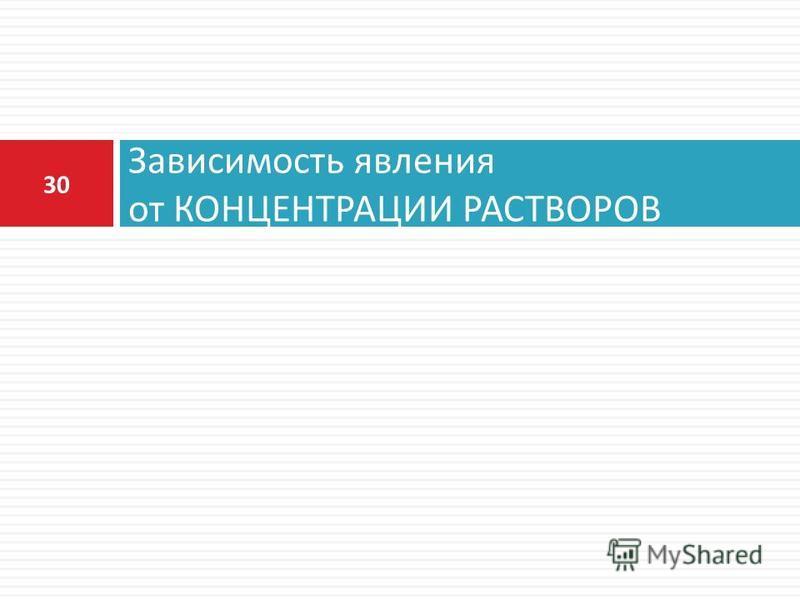 Зависимость явления от КОНЦЕНТРАЦИИ РАСТВОРОВ 30